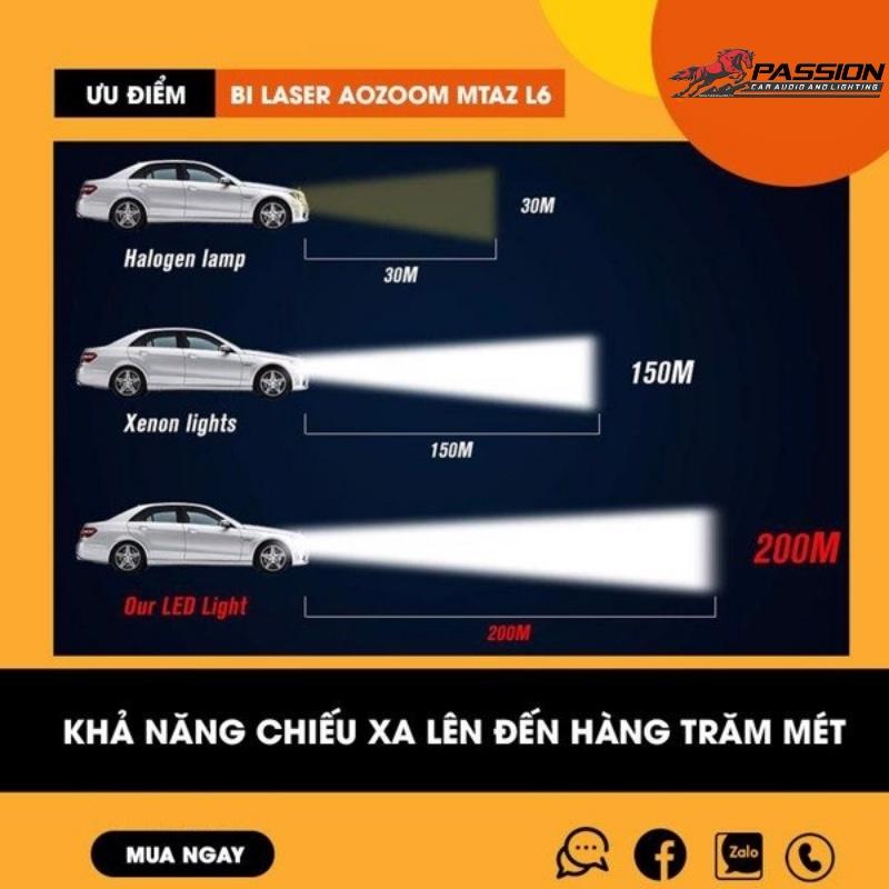 khả năng chiếu sáng xa đến vài trăm mét của Bi Laser MT AZ L6 | Passion Auto