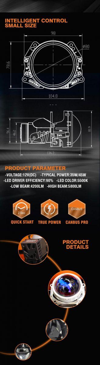 Thông số kỹ thuật của đèn bi led mt az chính hãng